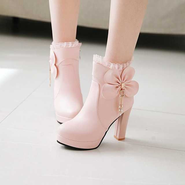 PXELENA Hot Sweet Ankle Boots Ladies Shoes Women Wedding Boots White Pink  Black Bowtie Ruffles High Heels Short Boot Shoes 34-43 5294702aa929