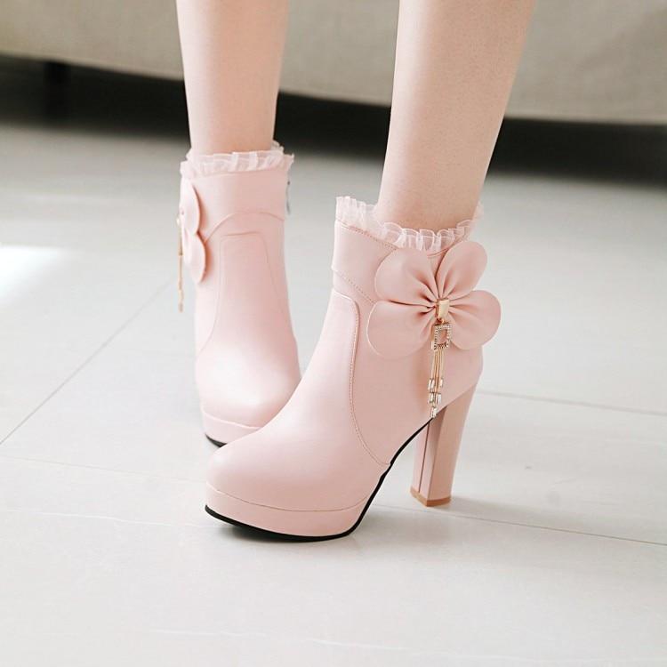 11102457 blanco rosado Tacones Volantes Bota Pxelena 43 Negro Dulce Botas Zapatos  Boda Corta Negro De Blanco Mujer ...