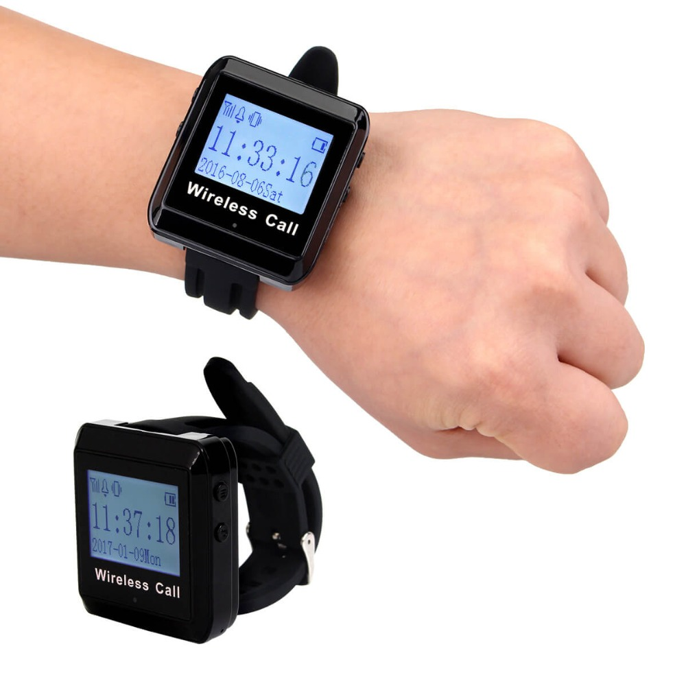 2pcs 433MHz Restaurant Wireless Calling System Watch Receiver Waiter Call Pager Restaurant Equipment F3258 wireless restaurant calling pager system 433 92mhz wireless guest call bell service ce pass 1 display 4 watch 40 call button