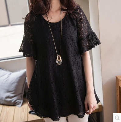 New Women Casual Basic Summer Lace Blouse Top Shirt short sleeves loose Solid blusas Black Hollow out Plus Size
