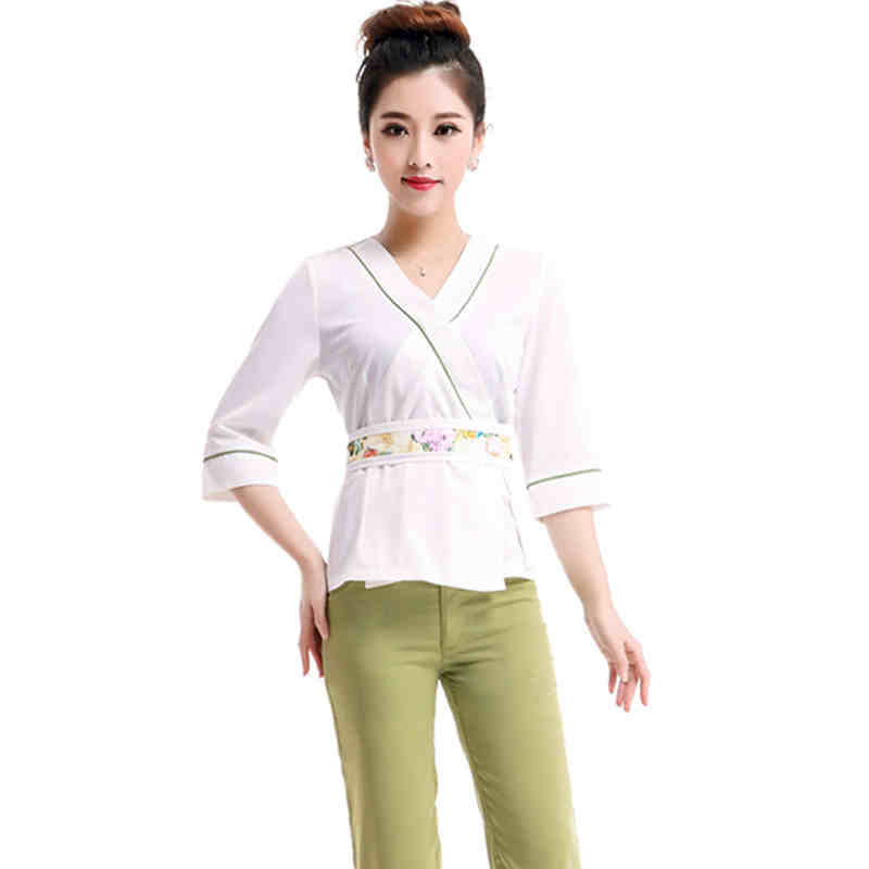 2017 summer women work wear three quarter sleeve cleaners for Spa uniform colors