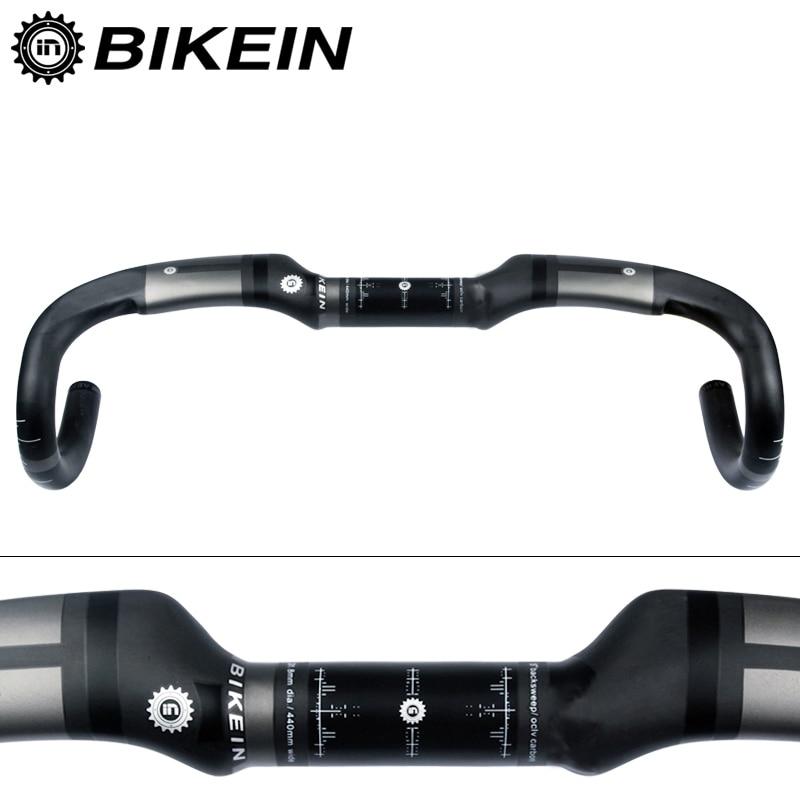 BIKEIN Ultrakönnyű kerékpáros út kerékpár fogantyú UD Carbon Drop Bar 400/420 / 440mm Út Kerékpár Bent Bár 31,8 mm Matt Fekete 230g