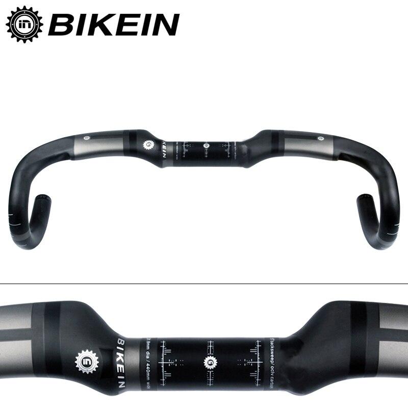 BIKEIN ultraléger vélo de route vélo guidon UD carbone barre de chute 400/420/440mm vélo de route barre pliée 31.8mm noir mat 230g
