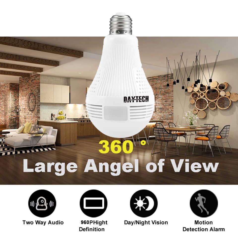 DAYTECH WiFi IP Camera Wireless HD 960P/1080P Camera Home Security Baby Room 360 degree Panoramic Angle Lamp Light Two-way Audio