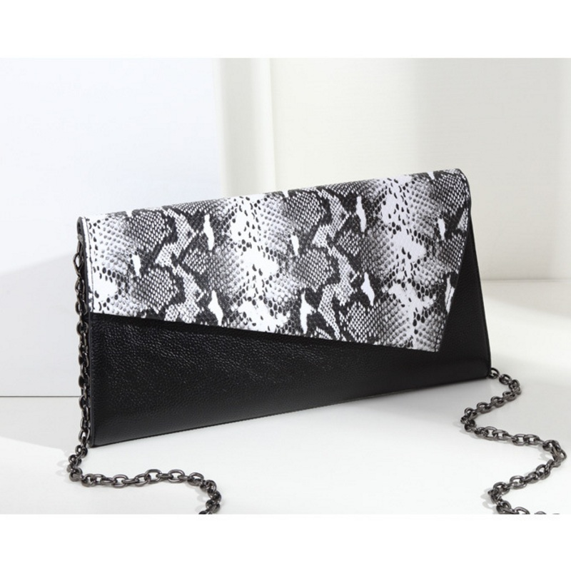 Fashion Serpentine Women Day Clutch Split Leather Handbag Chain Shoulder Bags Flap Clutches Messenger Bag Wristlets High Quality fashion matte retro women bags cow split leather bags women shoulder bag chain messenger bags