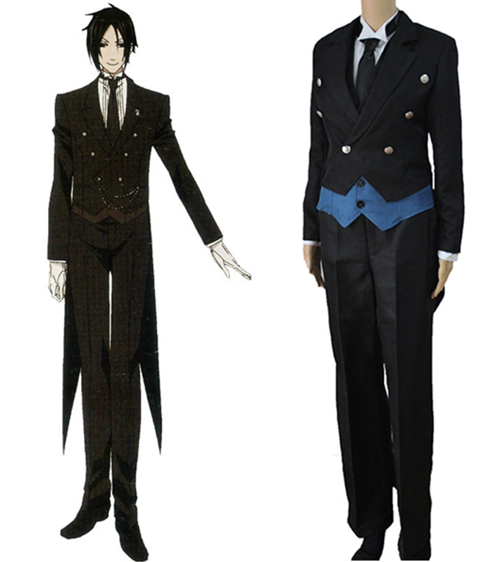Anime Black Butler Sebastian Michaelis Uniform Cosplay Costume Full Set Tuxedo ( Coat + Vest + Shirt + Pants + Tie )