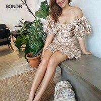 SONDR Sexy Off Shoulder Dresses Women Strapless Lantern Half Sleeve Patchwork Ruffle Print Dress Female 2019 Summer New