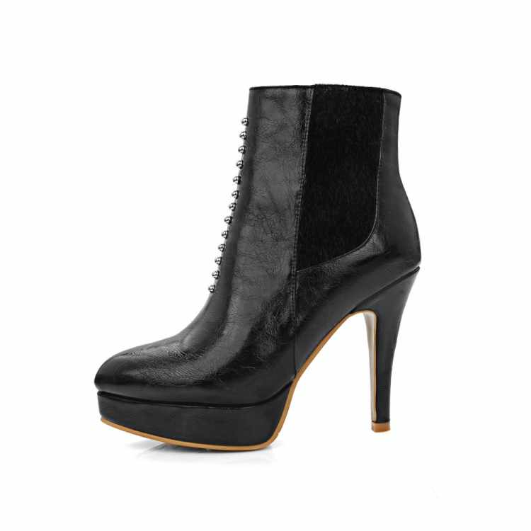 Kích thước lớn thời trang autumn winter phụ nữ boots nêm giày cao gót giày người phụ nữ chân nhọn mắt cá chân khởi động nền tảng martens boots w3-3
