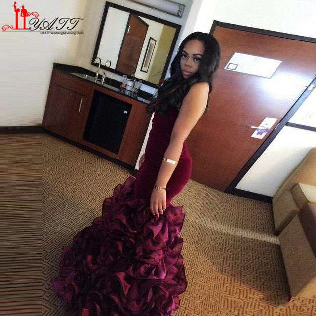 b890f357f5 New Burgundy Long Mermaid Prom Dresses Rose Floral Flowers Tiered  Sweetheart Velvet Plus Size Evening Dress Formal Party Gowns