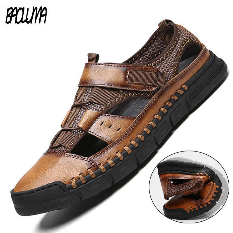 Men/'s Hand Stitching Outdoor Closed Toe Leather Sandals Casual Beach Slippers US
