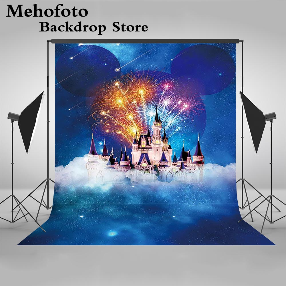 Mehofoto Fantasy Castle Night City Photography Backdrops Firework White Cloud Backgrounds for Photo Studio Computer Printed