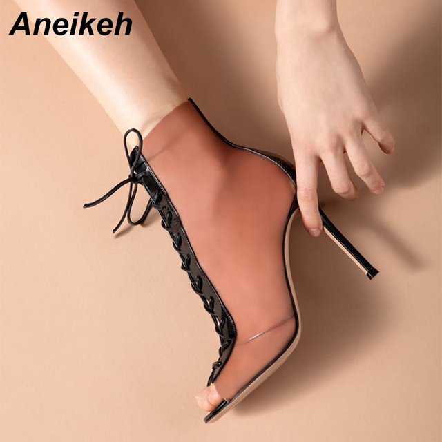 c949b49c869 US $40.3 |Aneikeh Sexy Clear Transparent PVC Women Ankle Boots Pink Peep  Toe Lace Up Stiletto High Heels Sandals Shoes Pumps Mujer Women-in Ankle ...