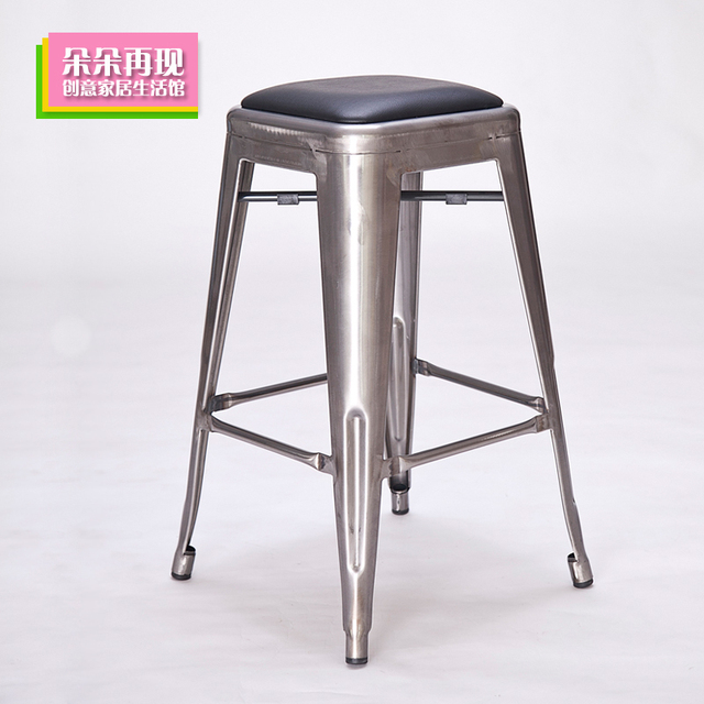 Metal Bar Stool Tall Modern Minimalist Cushion Chair Continental