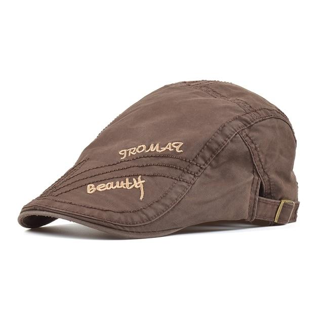 af43e1fd7139a Boinas Xadrez Retro Moda de alta Qualidade Chapéu boné de pala de algodão  Mulheres Das Senhoras