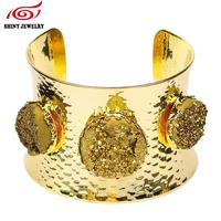 Fashion Indian Jewelry Crystal Rock Arm Bangle Bracelet Round Druzy Stone Open Style Gold Plated Geode
