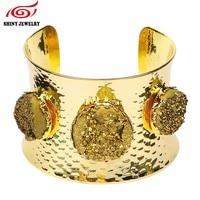 Moda india joyas cristal de roca pulsera brazalete redondo druzy piedra libre estilo chapado en oro Geode ágatas druzy Brazaletes femme