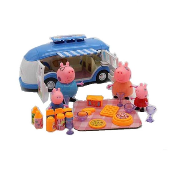 Real Scene Model House PVC Action Figures Cute Pink Pig Picnic Car Early Learning Educational toys Gift For Kids Pepal Piggy cute puzzle educational toys wolf house rabbit finger sleeve multicolored