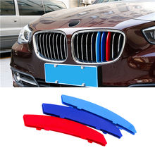For BMW 3 Series F30 F31 3D Car Styling Front Grille Trim Sport Strips Cover M Power Performance Stickers for 2013-2017