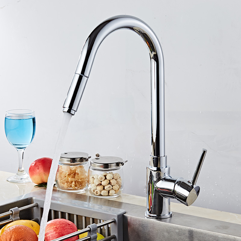 Free Shipping Kitchen Faucet Europe style brass Chrome Pull Out kitchen sink faucet kitchen mixer tap luxury basin faucet free shipping high quality chrome brass kitchen faucet single handle sink mixer tap pull put sprayer swivel spout faucet