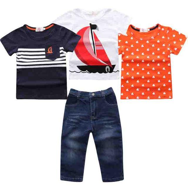2017 de Los Niños que arropan los muchachos juego del verano barco barco blanco de la camiseta + camisa + rojo impresión de la Camiseta + jeans 4 unids. traje set ST255