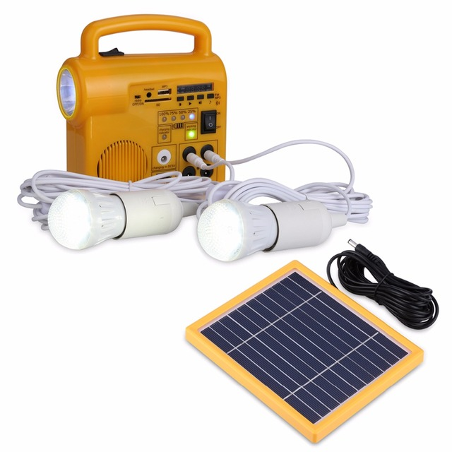Outdoor/Indoor Solar Powered Led Lighting System Light Lamp 2 LED Bulbs Solar Panel Low-Power Camp Nightfair Travel Used 12hours