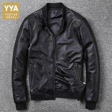 Мужская кожаная авиаторская куртка черного цвета из натуральной воловьей кожи, с воротником стойкой, размера плюс 5XL, Мужская Осенняя пилотная куртка