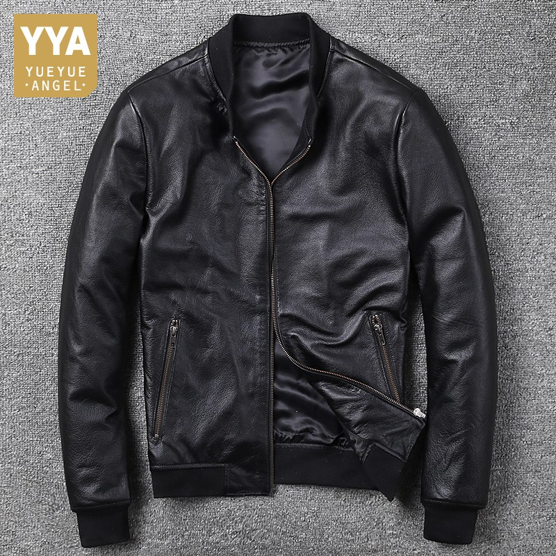 Black Cowhide Genuine Leather Aviator Jacket Mens Stand Collar Plus Size 5XL Real Leather Bomber Jackets Male Autumn Pilot Coat