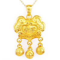 999 Solid 24K Yellow Gold Pendant Baby Lock Pendant Bring Lucky