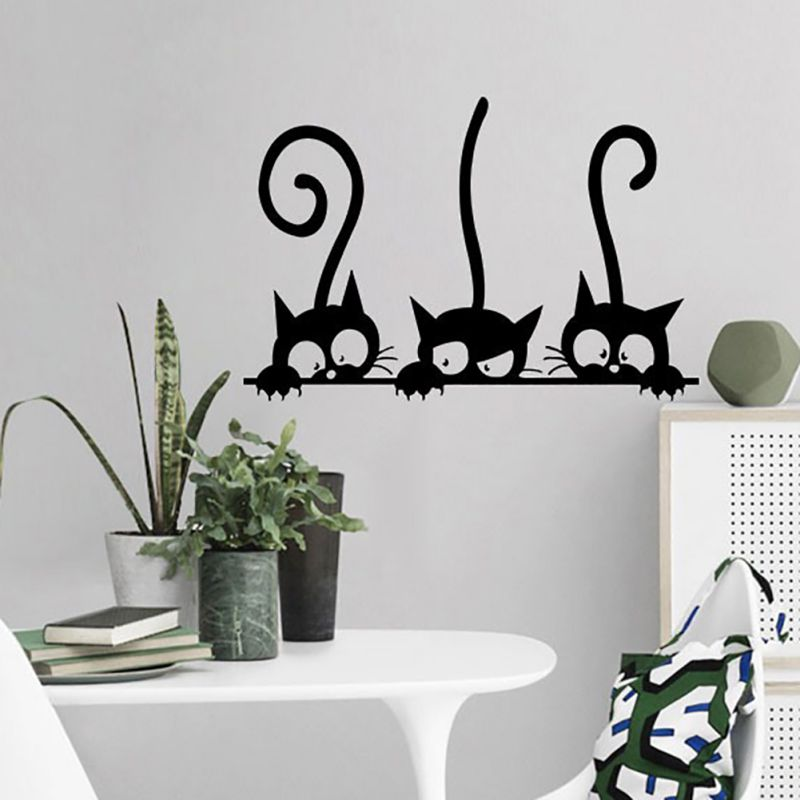 New Three Funny Cat Wallpapers Formaldehyde-free Self-Adhesive And Environment Friendly Wall Stickers New