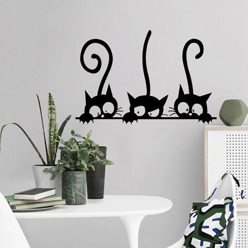 Новые три забавных кошки обои формальдегид-Бесплатные самоклеящиеся и экологически чистые наклейки на стену Новые