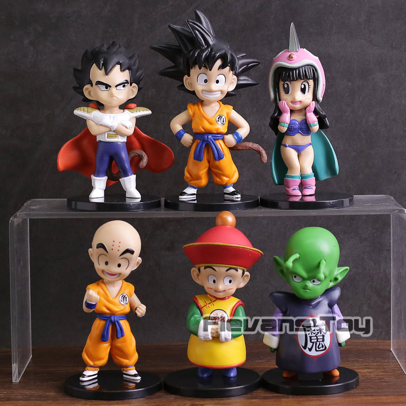 где купить Dragon Ball Dragon Children Son Goku Gohan ChiChi Piccolo Vegeta Krillin PVC Figures Toys 6pcs/set по лучшей цене