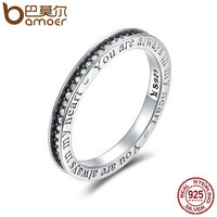 BAMOER 925 Sterling Silver You Are Always In MY Heart Letter Pave CZ Finger Rings For