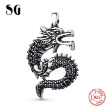 New arrvail 925 sterling silver Beautiful Ancient dragon pendant necklaces diy fashion jewelry accessories making for women gift(China)