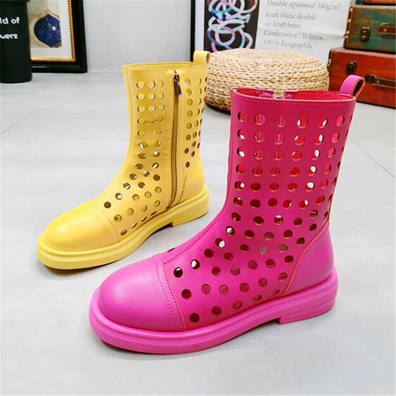 Summer new Breathable hollow hole shoes candy color Martin boots motorcycle boots Square heel short boots womens flat shoes Summer new Breathable hollow hole shoes candy color Martin boots motorcycle boots Square heel short boots womens flat shoes