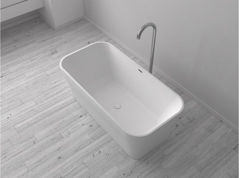 1700x800x580mm Solid Surface Stone CUPC Approval Bathtub Rectangular  Freestanding Corian Matt White Finishing Tub RS65116