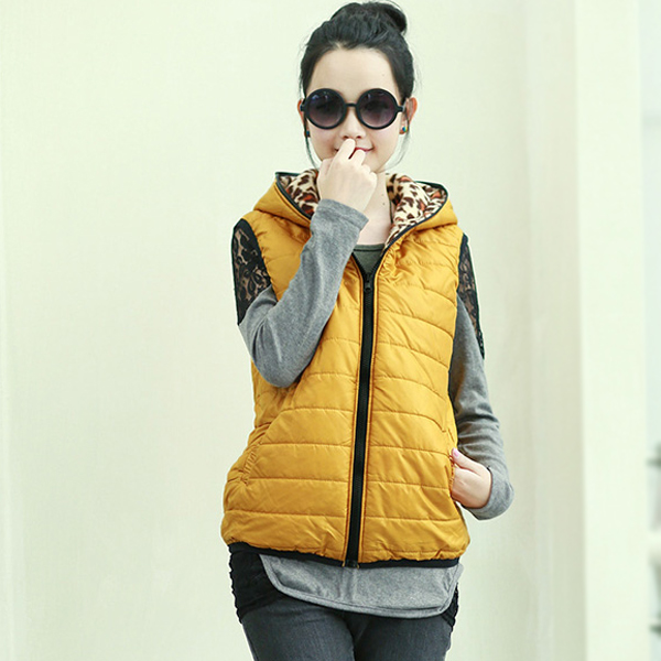 2015 Vests Vest Female Vest Women Winter Jacket Sleeveless Hoody