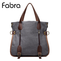 Fabra Canvas Women Messenger Bags Vintage Casual Bag Big Capacity Brands Shoulder Crossbody Bag Patchwork Ladies Handbags Tote