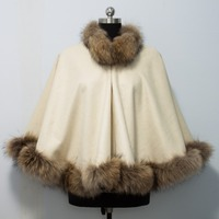 Free shipping New Winter Female Fur Shawl Top Quality Cashmere Poncho With Genuine raccoon Fur Trim Real dog Fur cape Outerwear