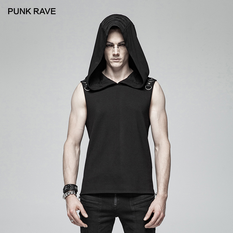 PUNK RAVE negro gótico misterioso sudadera sin mangas moda Punk Rock hombres camiseta personalidad asnual Cool camisetas divertidas camisetas
