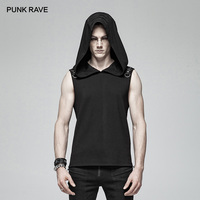 PUNK RAVE Black Gothic Mysterious Hoodie Sleeveless Fashion Punk Rock Men's T shirt Personality Asual Cool Tees Funny T Shirts