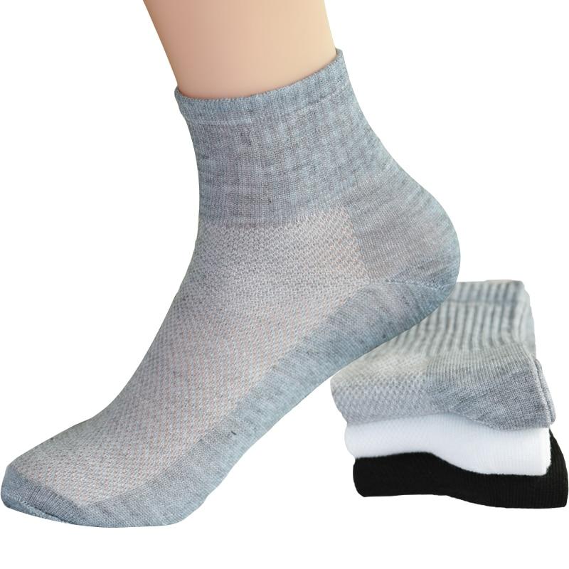 10pcs=5pair/lot Summer Autumn Style Men's Socks Mesh Breathable Business Cotton Male White Black Gray Fashion Casual Short Socks