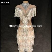 d3a5b4c37 BU388 Women Net Yarn Sexy Silver Tassel Skirt Sleeveless More Sparkling  Crystals Nightclub Party Singer Stage Wear Costumes