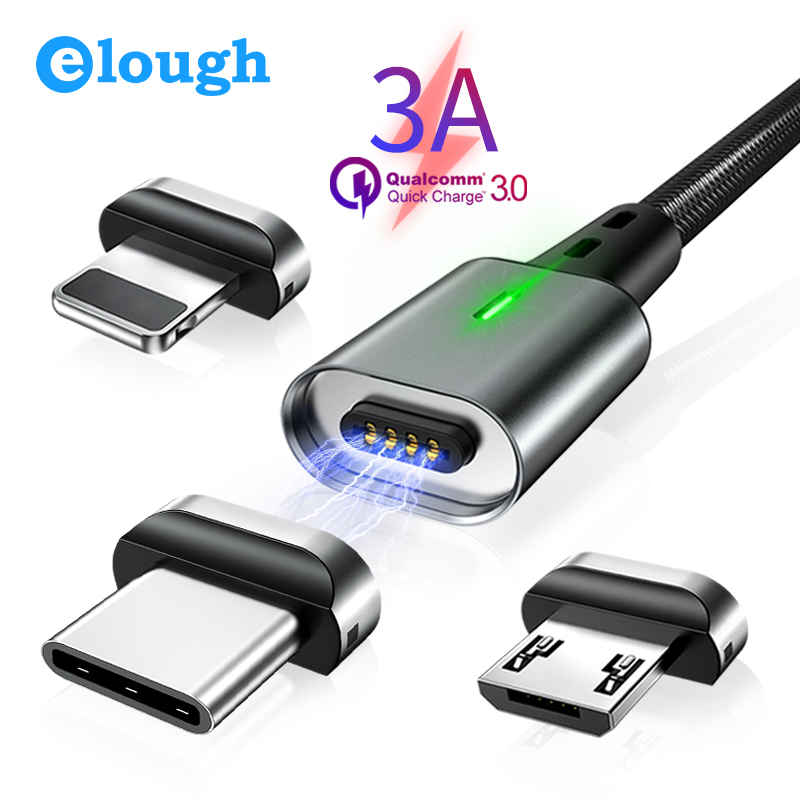 Elough Magnetic Charging Micro USB Cable for iPhone Samsung Xiaomi Mobile Phone QC3.0 Fast Magnet Charger USB Type C Cable Wire