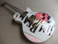 Wholesale New Cnbald MAHOGANY Guitar LP Custom Rose On Body Guitarra Electrica In White 110825