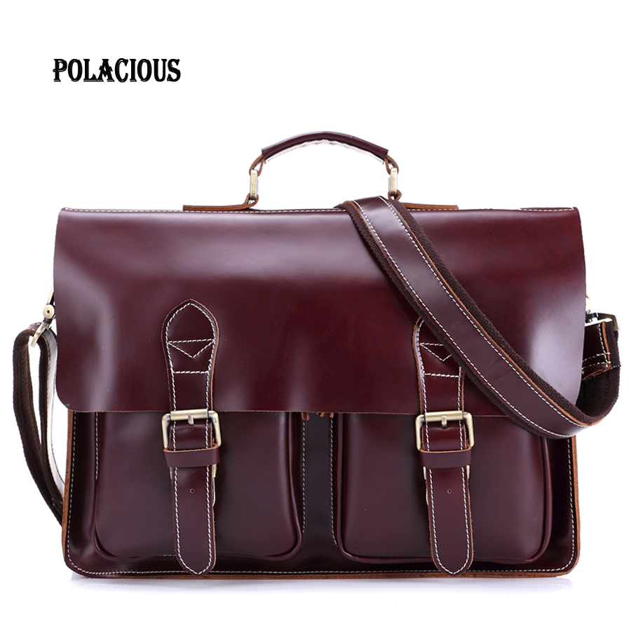 2016 New Fashion Genuine Leather Bag Men Famous Brand Shoulder Bag Messenger Bags Fashion Men's Travel Bags Free Shipping MS8037 2016 famous brand genuine leather bag men leather messenger men s messenger travel bags brown black european fold style new t007