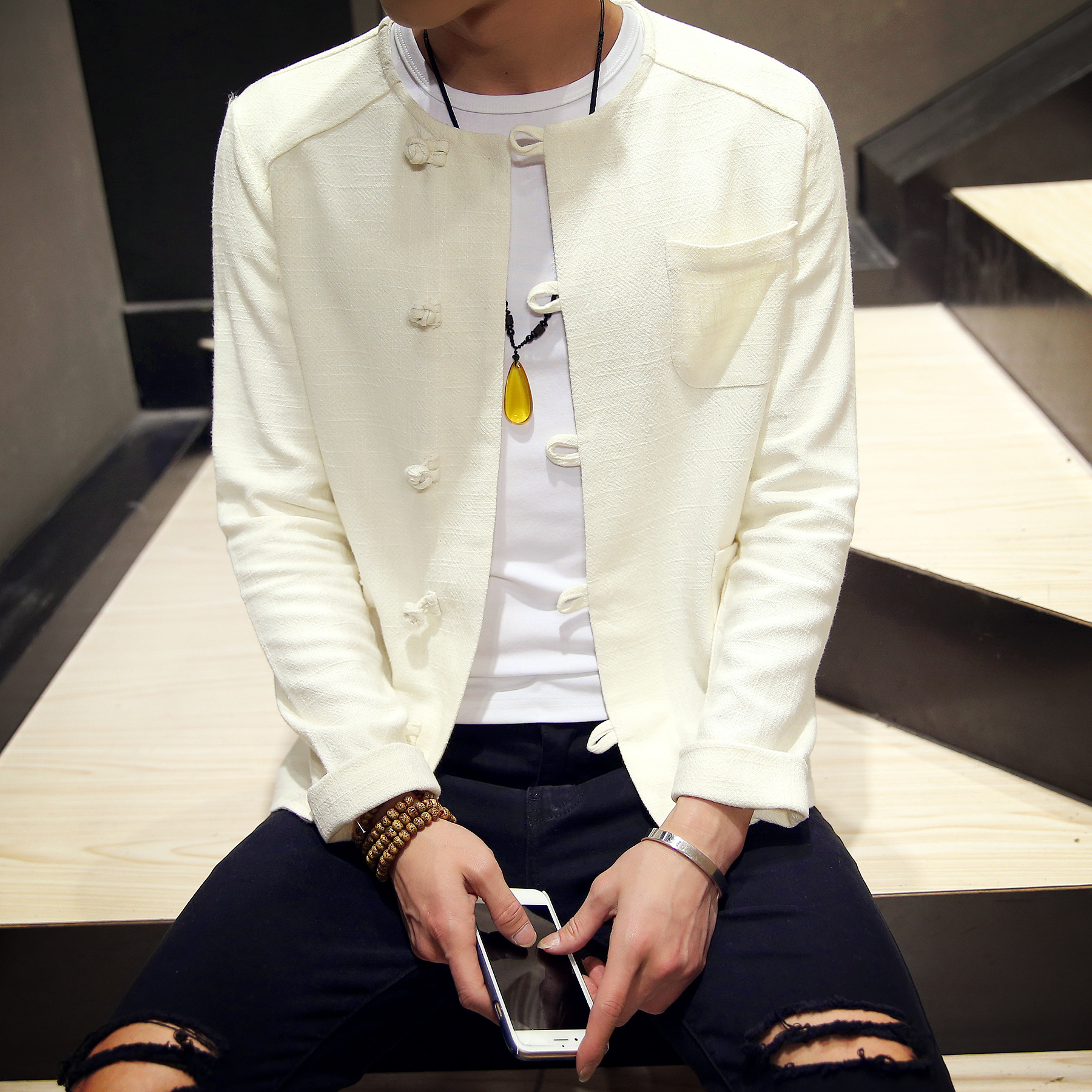 Sinicism dropshipping Store Cotton Linen Men Shirts Long Sleeve Solid Color Stand Collar Chinese Clothes Male Casual Shirts