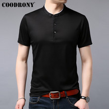 COODRONY T Shirt Men Chinese Mandarin Collar Short Sleeve T-Shirt Summer Casual Mens T-Shirts Cotton Tee Homme S95043