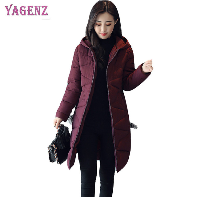 1c560b44946 Winter Women Feather Cotton Coat 2018 High-quality Long Thicken Warm Ms  Outerwear Solid Color Plus size Ms Hooded Overcoat B40