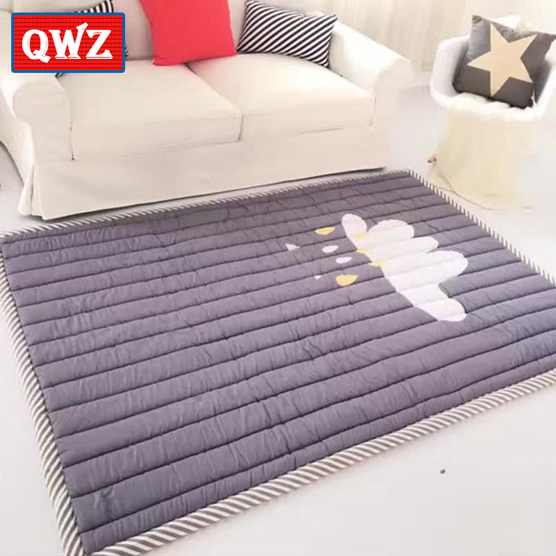 QWZ 195*140cm Baby Play Mat Thickening of Folding The Game Blanket Bedroom Mat Cartoon Baby Rug Soft Kids Rug Floor Mat Gifts цены