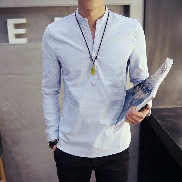 71e2e0a57 Solid Color V-neck Long Sleeve Autumn New Fashion Men Shirts Leisure Plus  Size Chinese